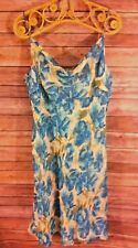ANN TAYLOR Womens Blue Floral 100% Silk Spaghetti Strap Cocktail Dress Size 10