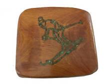 Vtg Wooden Turquoise Inlay Belt Buckle Skiing Skier Ski Tahoe Vail 70s Wood Mens