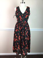 Glamorous Womens Dress Red Floral Fit Flare Side Lace Up Midi Size XXS? XS?