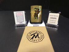 New listing Vintage Zippo Solid Brass Marlboro Lighter Unfired Bucking Bronco Cowboy In Box