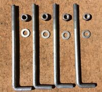 """Qty. 4 - 5/8"""" x 12"""" - Hot Dipped Galvanized Steel Bent Anchor Foundation L Bolt"""
