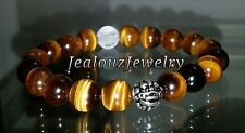 Sterling Silver Lucky Dragon AAA Tiger Eye Gemstone Yoga Stretch Mens Bracelet