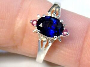 Lab Blue Sapphire Natural Red Ruby Ring 925 Sterling Silver USA Made Size 6.5