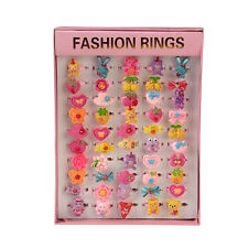 50pcs Vintage Cartoon Plastic Rings Wholesale Pink Square Box Kids Girls Gift