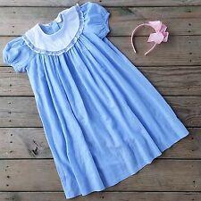 Chabre girl 6x full length Easter Spring Dress Linen blue Heirloom smocked