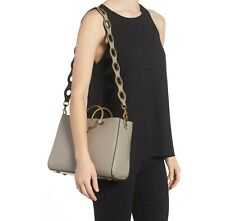 NWT $345 REBECCA MINKOFF LEATHER TAUPE RING SATCHEL TOTE SHOULDER BAG