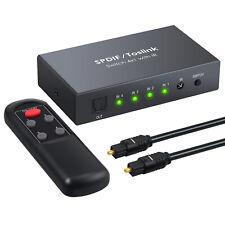 Digital Optical Audio Switcher 4x1 SPDIF Toslink Switch Box w/ IR Remote Control