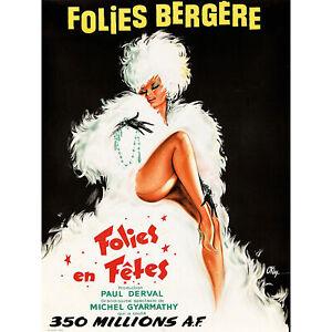 Folies Bergere Theatre Cabaret Large Wall Art Print 18X24 In