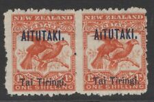 """AITUTAKI SG7bvar 1903 1/- BRIGHT REDWITH BROKEN """"I"""" IN AITUTAKI MTD MINT IN PAIR"""