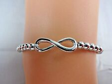 Infinity bracelet 7 inch stretchy thin beads silver fresh