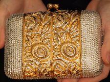 Judith Leiber SWAROVSKI CRYSTAL GOLD FILIGREE FLOWER FLORAL Clutch Shoulder Bag