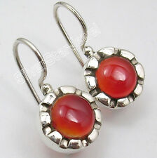 "925 SOLID Silver High End RED CARNELIAN Earrings GEMSTONE 0.9"" GIRLS' JEWELRY"