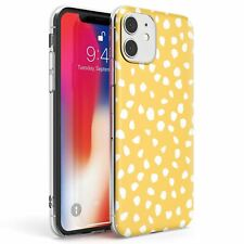 White on Yellow Dalmatian Polka Dot Spots Slim TPU Case for iPhone Polka Dots