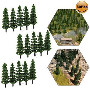 50pcs Model Train Layout 1:150 Trees N Scale Green Trees 50mm TC50