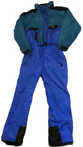 Vintage 90's Inside Edge Ski Suit Snow Suit Large Multi Color Blue Green Red