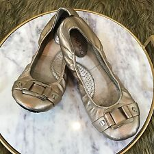 Me Too Sz 7 M Gold Bronze Metalic Leather Career Casual Scrunch Ballet Flats