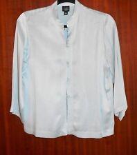 Eileen Fisher Pant Set Petite Small Medium Pastel Blue Silk Shirt Skirt Set Suit