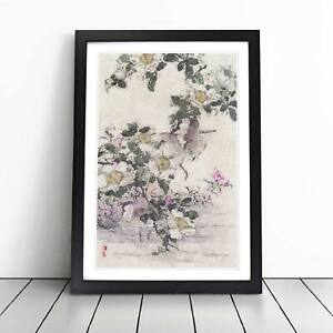 Birds in the Water Flowers Asian Kono Bairei Framed Picture Print Wall Art