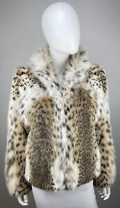 LYNX Rufus American Bobcat Heavily Spotted  Bomber Jacket Real Fur Coat 8-10