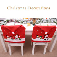 Red Hat Soft Stretch Santa Claus Cap Dinner Table Christmas Chair Cover Decor uk