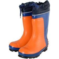 Orange/Blue Steel Toe Safety Work Wellington Boots UK 3