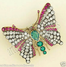 Victorian Look Silver Estate Brooch 3.75ct Rose Cut Diamond Emerald Ruby