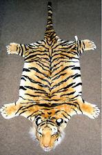Tigerfell Teppich Bettvorleger Tiger Deko Kamin Stofftier Fell Plüsch Braun