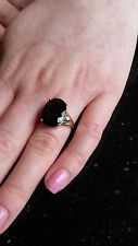 9ct Gold Smoky Quartz And Diamond Cocktail Ring Size L