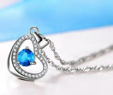 Heart Blue Topaz 925 Sterling Silver Pendant Chain Necklace Jewelry Gift Box E2