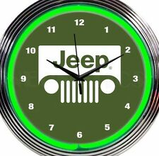 Jeep Wrangler Neon Clock Green 15 Inch Office Game Room Garage