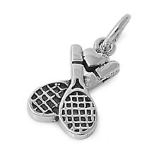 Beautiful! Double Tennis RACKET CHARM PENDANT .925 STERLING SILVER