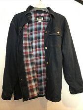 Duke Haband Mens Blue Denim Flannel Jacket Size Large Button Down Dark Blue.  6