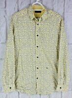 Diesel 100% Cotton Casual Summer Shirt Yellow White Leaves Long Sleeve Medium M