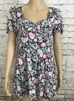 NWT Millau Dress Floral Colors Mixed Short Sleeve Lined Mini Women's Size M