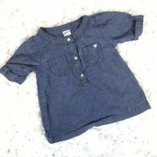 Carters Toddler Girls Baby Blouse Short Sleeve Blue Size 12 Months