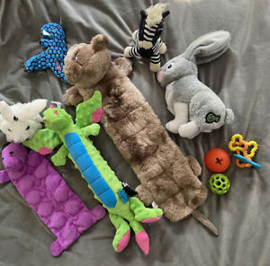 Large Lot Of Squeaky And Dog Chew Toys Go Dog Kong Etc