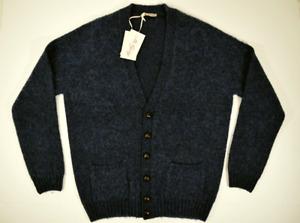 McGEORGE cardigan maglione UOMO maglia pullover LANA SHETLAND blu A/I 2019/'20