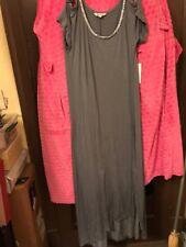 Women's Small Juicy Couture Hi Low Jewell Neck Grey Long  Dress   Reg. 58