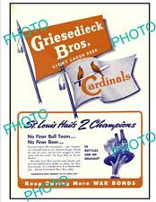 OLD 6x4 HISTORIC POSTER ST LOUIS CARDINALS 1944 BASEBALL W/S, GRIESEDIECK BEER