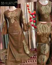 Bell sleeves Beautiful Pure cotton  linen  gown with hand work with