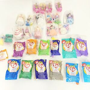 VTG McDonalds Happy Meal Lot Ty Beanies Complete Set Polly Pockets Snow White