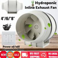 4/6/8 inch Inline Duct Fan Exhaust Fan Air Blower Bathroom Ventilation System US