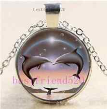Dolphin Fan Photo Cabochon Glass Dome Silver Chain Pendant Necklace