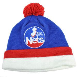 NBA Mitchell & Ness KE31 Stripe Cuffed Pom Pom Knit Beanie HWC New Jersey Nets