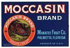 MOCCASIN Brand, Vintage Palmetto Florida *An Original Citrus Crate Label* str