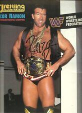Eb1777 Razor Ramon signed Wrestling Magazine Poster w/ Coa Tatanka Cover