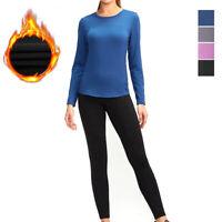Womens Long Thermal Underwear Fleece Lined Winter Base Layer Set Homewear Warm