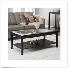 Coffee Table Glass Top Furniture Black Living Room Cocktail Modern Wooden Shelf