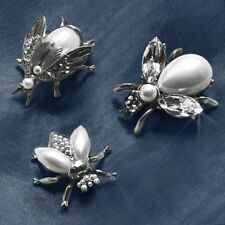 94846c6a2f72 Sweet Romance Exotic Bees Scatter Pins Set of 3 Glass Pearly Girls  Silvertone US