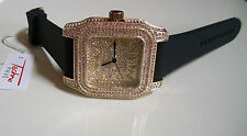 ICED OUT MENS GOLD FINISH TECHNO PAVE LAB DIAMOND SIMULATE SQUARE SILICONE WATCH